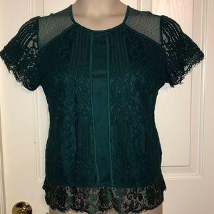 Emerald Green Lace Short Sleeve Shirt Large
